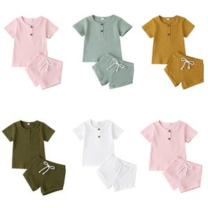 Baby Girls Boys Summer Clothing Child Infant Clothing Short Sleeve Solid Color Ribbed Top T Shirt Shorts Clothes