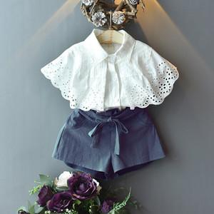 Детская одежда наборы для девочек наряды дети кружева вдаливаясь рубашки рубашки + носовые шорты 2 шт. / Установите летние мода детская одежда Z0440
