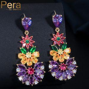 Pera modische Frauen-Partei Sterling Silber 925 Pin Ohr Big Multicolored Zirkonia Lange Blumen-Tropfen-Form-Ohrringe Schmuck E015