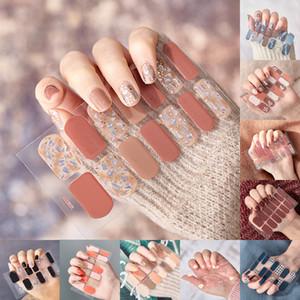 14PCS / folha Glitter Gradiente cor das unhas Adesivos Wraps cobertura completa Nail Polish etiqueta DIY auto-adesivo unhas Decoração Art