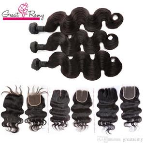 Greatremy® 3pcs brasilianische Haar-Bündel mit Top Closure Freier 1pc Menschen Jungfrau-Haar-Webart voller Kopf-peruanische Haar-Extensions Weave