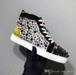 2019S Männer verzierte Schuhe Top Rhinstone Strass Spitz-rote Unterseite Sneaker Pik Nieten Glitzer-Leder mit Graffiti beste Qualität Fabrik