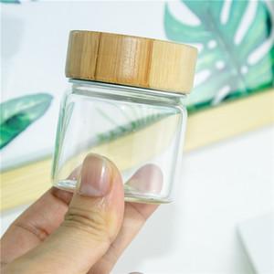 6pcs 47x57x35mm Garrafas Capacidade 50ml de vidro com alumínio Bamboo Duplo Small Cap Mini transparente vazio vidro Frascos Frascos