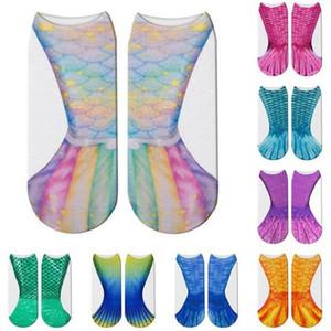 3D sirena Calcetines de Cosplay de escama de pescado de impresión de los calcetines poco profundas animales dibujos animados de moda 14 niños del estilo del desgaste adulto de la familia favor de partido D766