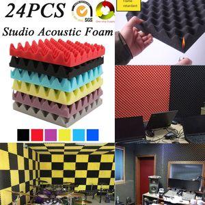 لوحات العلاج غرفة (24Pack) EGGCRATE ستوديو تسجيل الصوت الصوتية رغوة عازلة للصوت الصوت بلاط العزل امتصاص 25x5cm مضادة للحريق