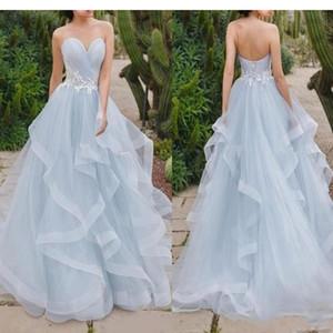 2020 Skye Blue Vestidos de baile una línea vestido de cuello con blanco colmenas del cordón del tren posterior del corsé de playa de Boho nupcial partido formal vestidos de noche