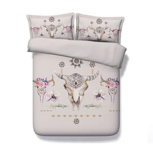 Bohemian Bed Set 3 шт Цветы Буффало черепа Рожки с Перья пододеяльник Set Цветочные Корова Boho Bedding Сельский Tribal Стрелки Mandala кровать