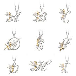 Personalizzata Lettera Collane Donne 26 alfabeti oro Angolo Pendant Silver Charm Choker catena iniziale per i monili di ragazze Moda strass
