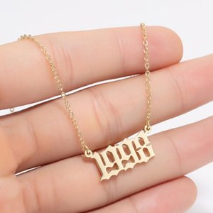 Handmade Personalized Old English Number Necklaces Custom Birth Year Necklace Special Year 1980-2020 Have Enough Stocks