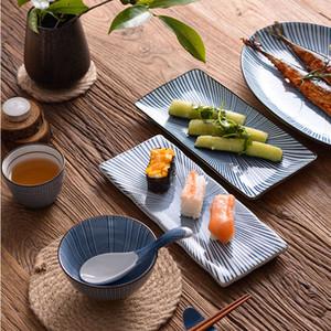 """Zen Japon Geleneksel Dikdörtgen Suşi Tabağı Oval Balık Tabağı Seramik Servis Tepsisi Yemek Tabağı 10 """"12"""" Karışık Dört Desen"""