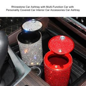 9.5x6x6cm Rhinestone del cenicero del coche con de múltiples funciones del coche con personalidad cubierto Accesorios interior Cenicero
