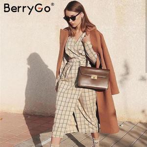 BerryGo manga longa elegante xadrez vestido longo branco alta wiast senhoras de escritório Outono Sexy chique vestido de trabalho das mulheres v-pescoço partido