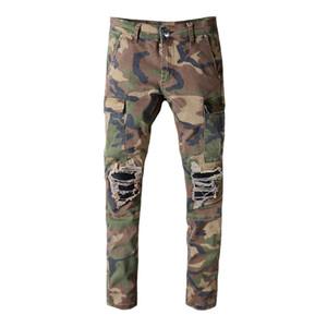 Moda Tasarımcısı Streetwear Erkekler Jeans Kamuflaj Büyük Cep Kargo Pantolon Dar Kesim Deri Yama Tasarımcı Hip Hop Jeans Men Ripped