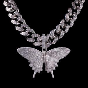 Hotsale de haute qualité Glacé animal Grand papillon Pendentif Collier en or plaqué argent Hommes Hip Hop Bling Bijoux Cadeau gros