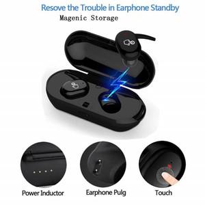 Mini TWS Fone de ouvido Bluetooth estéreo sem fio 5.0 Headphone Sports Earbuds 3D Música Som Earbuds com microfone carregamento Box para Smartphone Android