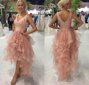 Front Short Long Back A Line Sweetheart High Low Homecoming Party Dresses Light Pink Tiered Tulle Lace Top Sexy Prom Cocktail Dresses