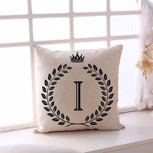 Un seul côté 26 lettres anglaises Impression Sofa Taie 45 * 45cm Linge Home Decor A-Z Lettre Taie Café Taie d'oreiller DH0884 T03