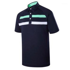 Çizgili Baskı Erkek Tasarımcı Polos Yaz Kısa Kollu Yaka Boyun Erkek Moda Tenis Golf Spor Erkek Tees Tops