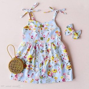 Girls Backless Braces Floral Dresses 2019 부티크를위한 여름 키즈 복장 1-4t 어린 소녀 붕대 민소매 드레스