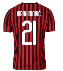 Personalizado 19-20 Milan 21 IBRAHIMOVIC calidad tailandesa Cutrone 63 17 7 Leao S.Castillejo 19 THEO 9 piątek 17 C.ZAPATA Montolivo fútbol jerseys