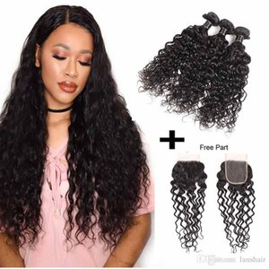 Malaysian Virgin Hair 3 Bundles With Closure Brazilian Virgin Hair Bundles With 4X4 Lace Closure Water Wave 100% Human Hair Extensions
