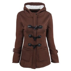 European and American women's autumn and winter new horn buckle coat thickened mid-length hooded blend jacket cotton