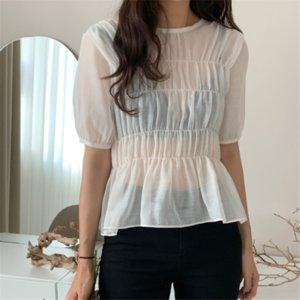 Hzirip retro Corea Casual Elegante suave delicados pliegues Micro-transparente camisa elegante de moda de verano Diseño de manga corta mujer