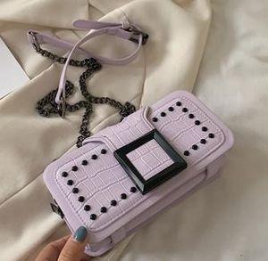 Fashion New Small Bag Texture Messenger Designer Female Bag 2020 Wild Buckle Rivet Chain Shoulder Messenger Bag