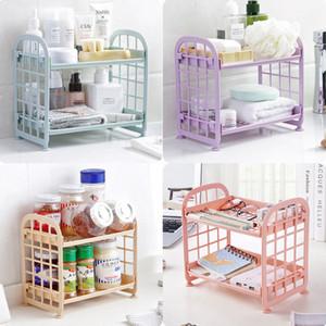 2 Tier bagno con doccia in plastica titolari Caddy angolo di stoccaggio Rack Kitchen Shelf dell'organizzatore di immagazzinaggio contenitore della cassa dell'organizzatore