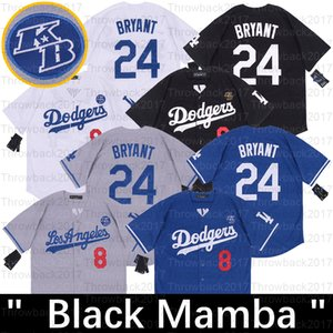 Los Angeles Black Mamba Baseball Jersey Bryant Aniversário número 8 24 Jerseys Preto Branco Azul Cinzento