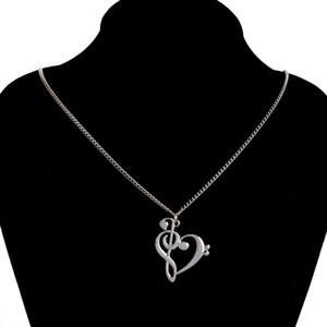 Amor muito Nota colares Music Note Coração de Agudos e colar de jóias mulheres Infinito encanto do coração bastante Colar