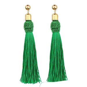 Bohemian Tassel Long Drop Earrings for Women Colorful Cotton Fabric Fringe Earrings Fashion Statement Jewelry Mix Colors