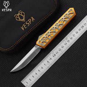Vespa Edc Star Tools جودة شفرة: M390 (الساتان) سكاكين مظلمة مقبض: 7075aluminum + TC4، في الهواء الطلق قابلة للطي سكين بقاء التخييم عالية LCJFD