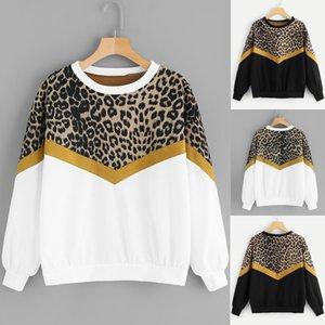 Donna leopardo di modo Felpe Felpe con cappuccio Billie Eilish Fashion Casual Long Sleeve Patchwork Leopard Print O-Collo Tops D300723