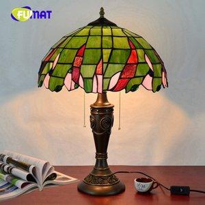 FUMAT Foglie verdi americane Rurale retrò Tiffany 40CM Vetrata soggiorno Camera da letto comodino Art Table Lamp