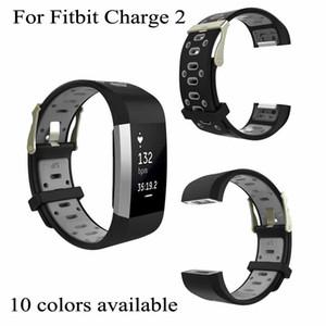 Per Fitbit carica Banda Charge2 Strap Bracciale 2 Smart doppio del quadrato di colore del silicone Foro polso con acciaio Classic Buckle