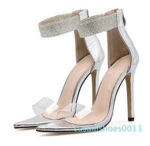 Artı boyutu 35-40 41 42 Gümüş Rhinestone Ayakkabı Moda Lüks Tasarımcı Kadınlar Yüksek Topuklar Düğün Sandalet Kutu 13c ile gel