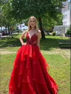 Red Charming A-line V-neck Sleeveless Appliques Prom Dresses Backless Applique Elegant Evening Gowns Cocktail Party Dress Robe de soiree