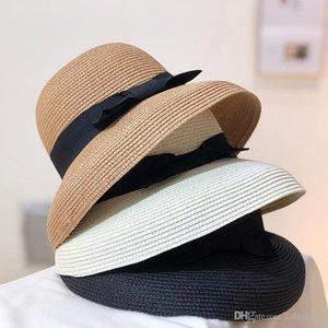 Урожай девушка Hat Summer Beach Grass Braid Шляпы Простой стиль Солнцезащитный Cap INS Мода Женщины широкими полями шляпы
