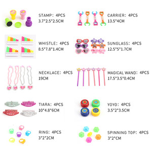 50pcs Set Kids Party Favors Plastic Birthday Toys Easter Brightly Colored Heart-shaped Necklace Ring Sunglasses Yoyo