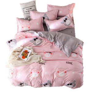 Высокое качество Solid Color Beding Set Омывается Хлопок Кровать Одеяло Обложка Наволочка Простыня Постельные принадлежности Одеяло-Set-крышка с наволочка