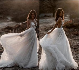 Berta 2019 New Beach Sexy Wedding Dresses Spaghetti Backless Lace Tulle Bridal Gowns Bohemian Plus Size Country Vestido De Novia