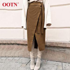 Sexy Vintage Brown Asymmetry Verpackungs-Rock-Herbst-Winter-Suede Midiröcke mit hohen Taille Frauen langen Rock-Büro Khaki Mode