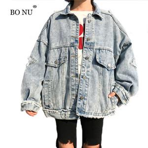 BONU 2018 Big Pocket Jacket Loose Women Oversize Manteau Harajuku Denim Vintage Veste Manteau Basic Mode Desserrez CoatMX190929 bombe femme