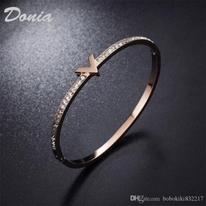 Donia jewelry two color electroplating exaggerated micro inlay zircon letter adjustable opening Bracelet personalized birthday gift