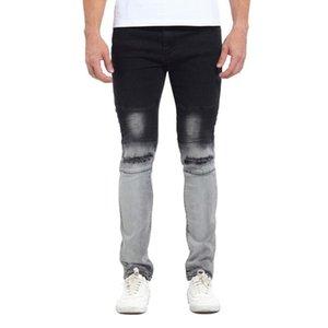 Kot Gradatient Renk Jeans Mens Şık Tasarımcı Siyah Beyaz Renk Patchwork Kalem Pantolon Yıkanmış