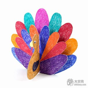 12PCS LOT Paint Unfinished Peacock Cardboard Paper Kids Children Baby DIY Toys Early Learning Educational Drawing Toy Home Craft