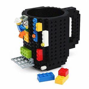 350ml caneca de leite criativo Cup Cafeteira Creative Build-On Tijolo Caneca Copos Beber água Suporte para Lego Building Blocks Projeto Presente