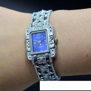 Moda Chaoyada elegante Mulheres retângulo menina quartzo requintado prata metal aço pulseira pulseira relógio de pulso 801