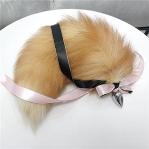 Véritable cristal réel de fourrure de renard queue Plug-W Silk Butt inoxydable Métal Jouet Anal Plug-Insert Stopper Sexy